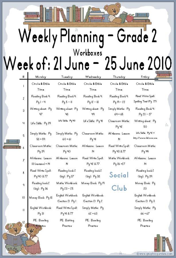 Lesson Plans 21 June - 25 June 2010