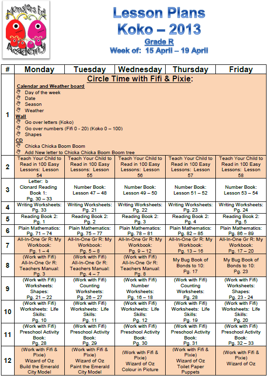 Lesson plans for the week - Monsters Ed