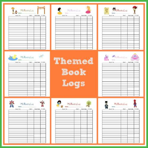 Reading Themed Book Logs